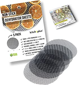 Kitchnplus Non-Stick 8'' Dehydrator Sheets (Set of 5) Compatible with Ninja Foodi and Instant Pot Dehydrator Rack and Air Fryer - Reusable Mats - PTFE Food Grade Material - Heat Resistant Up to 500°F - Includes Dehydrating Cookbook accessories