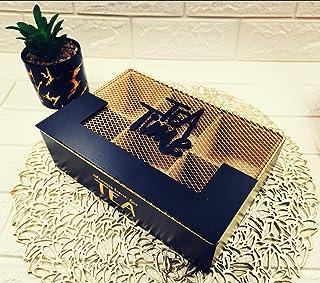 صندوق تخزين الشاي مستطيل الشكل خشبي بغطاء حديد ذهبي مزين بعبارة كوفي تايم 6 مساحات تخزين مقسمة بالتساوي، لون أسود