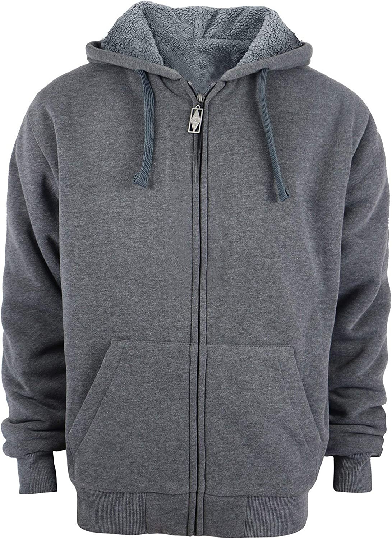 CAHANKO Men's Full-Zip Fleece Hooded Sweatshirt Heavyweight Warm Jacket with Kangaroo Pocket