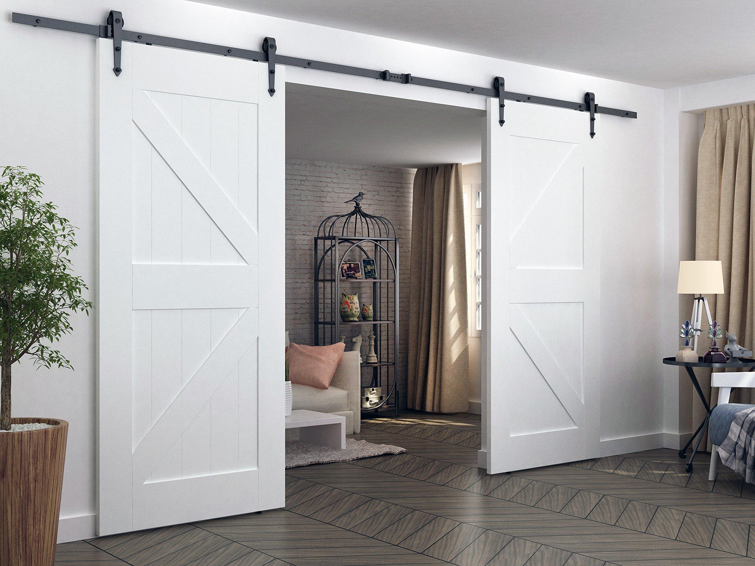 aihom 3.66 M doble francés puerta corredera puerta de granero Hardware puerta de granero pista para colgar 2 puertas: Amazon.es: Bricolaje y herramientas