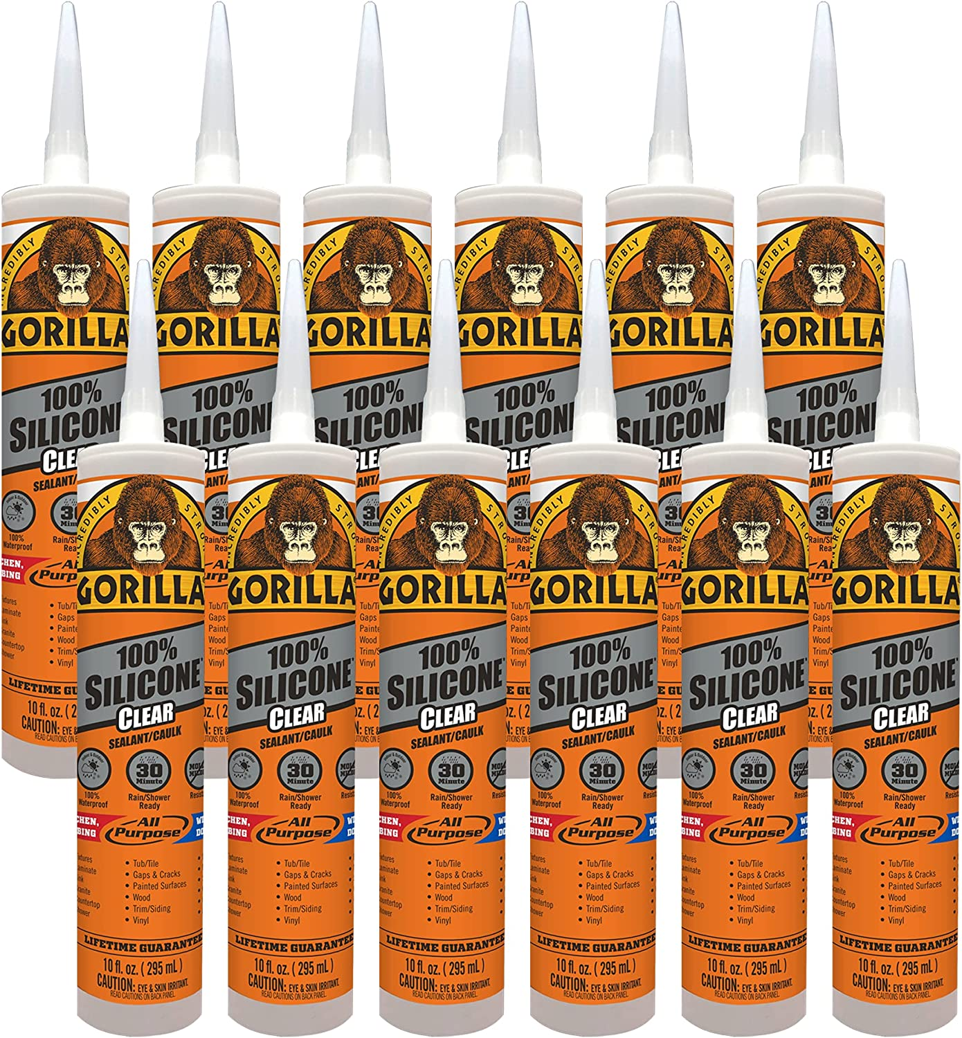 Gorilla 8050002DF12 10 Ounce Cartridge 1 Max 43% famous OFF Sealant Silicone Clear