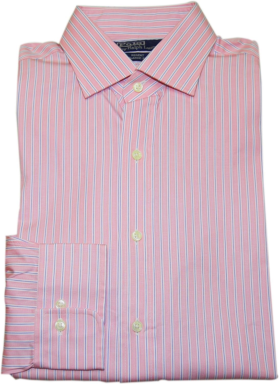 Ralph Lauren Polo Mens Regent Classic Fit Dress Shirt Pink Blue Stripe 17 36/37