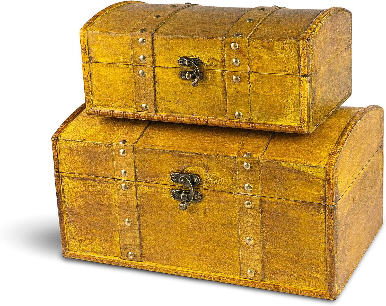 SLPR Decorative Keepsakes Wooden Trunk Chest (Set of 2, Walnut)   Old Rustic Wooden Keepsake Memory Trinket Nesting Boxes