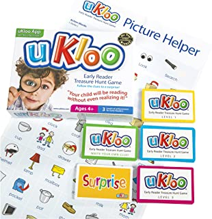 uKloo Early Reader Treasure Hunt Game – Award Winning Educational Scavenger Hunt Activity for New Readers - Picture Dictionary, Clue/Flash cards - All Abilities – Gifted & ADHD, Homework/Homeschool