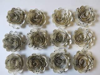 Scalloped Sheet Music Paper Flowers, 12 Roses, 1.5 Inch Rosettes, Music Theme Party Decor, Band Teacher Gift Idea