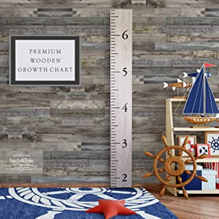 Back40Life Wooden Kids Growth Chart Ruler for Boys and Girls (Benchmark) (Weathered Natural)