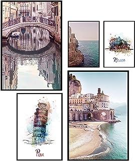 murando Set de 5 Poster avec Cadre Noir Tableaux Impression Artistique Poster Encadré Tableaux Murale Galerie Moderne Déco...
