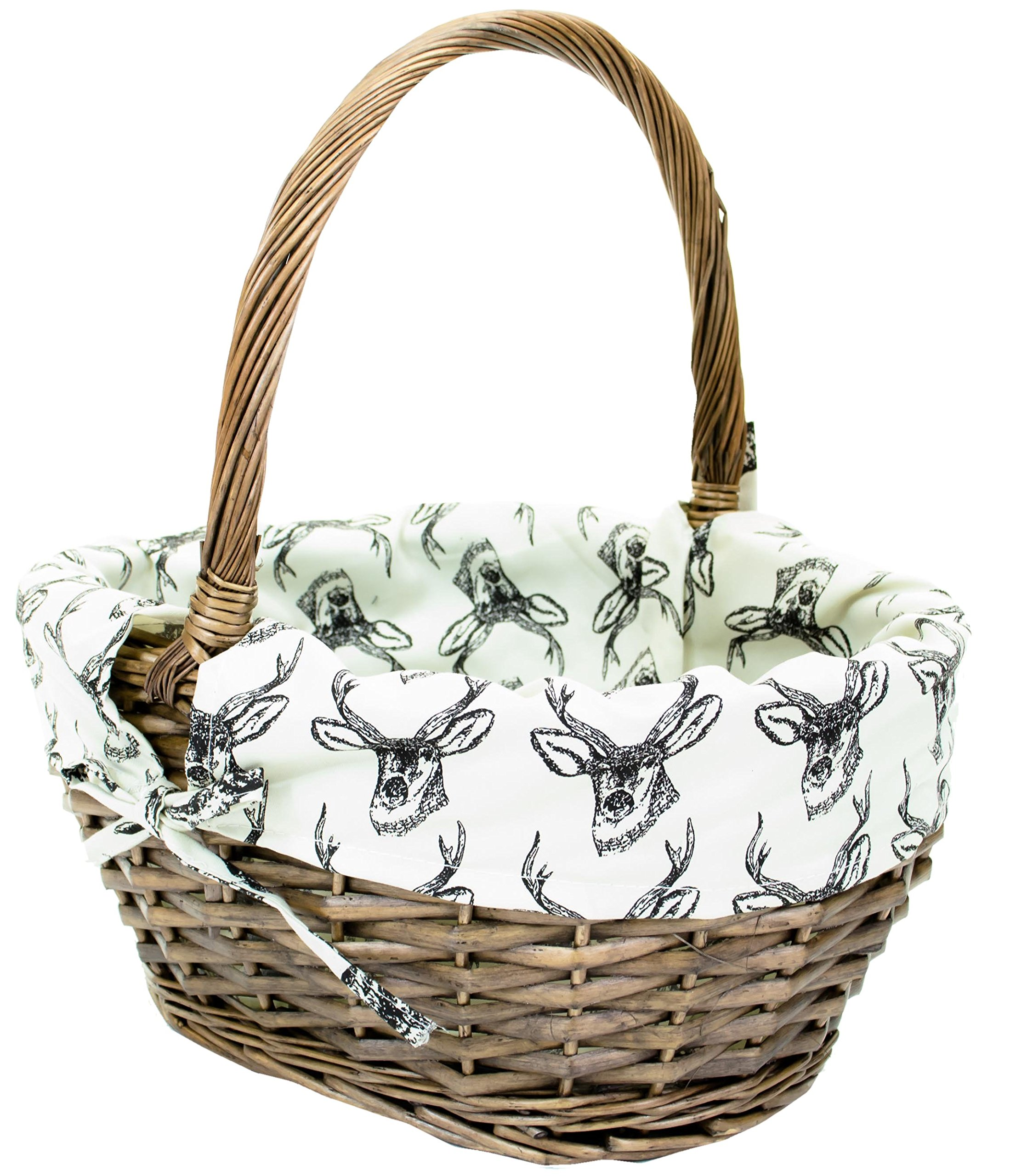 Medium east2eden Brown Wicker Willow Storage Log Hamper Basket with Stag Liner in Choice of Sizes