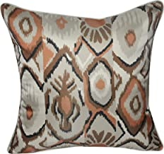 """Loom and Mill Bohemian Satin Southwest Ikat Design Decorative Plush and Fluffy Accent Decor Throw Pillow, 22"""" x 22"""", Orange/Beige/Brown"""