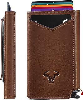 Mens Slim Wallet Card Holder,Bigant Aluminium Money Clip Wallet with Top Grain Leather Case 2.8
