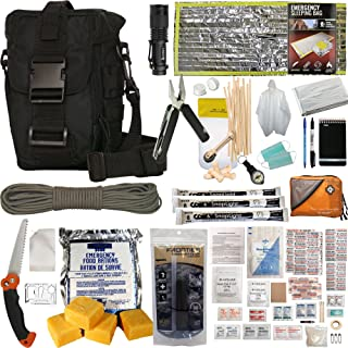 Prepper's Favorite Get Home Bag with First Aid Kit, Water Filter, Food, Fire, Tools and Shelter. Ideal Compact Bug Out Bag, Earthquake Kit or Emergency 72 Hr Kit. Tactical Shoulder Bag Model