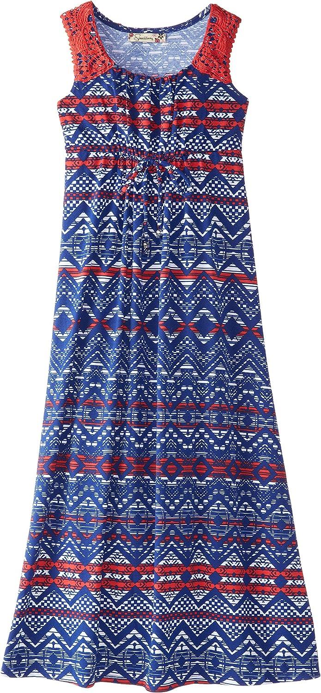 Speechless Big Girls' Printed Maxi Dress with Crochet Trim