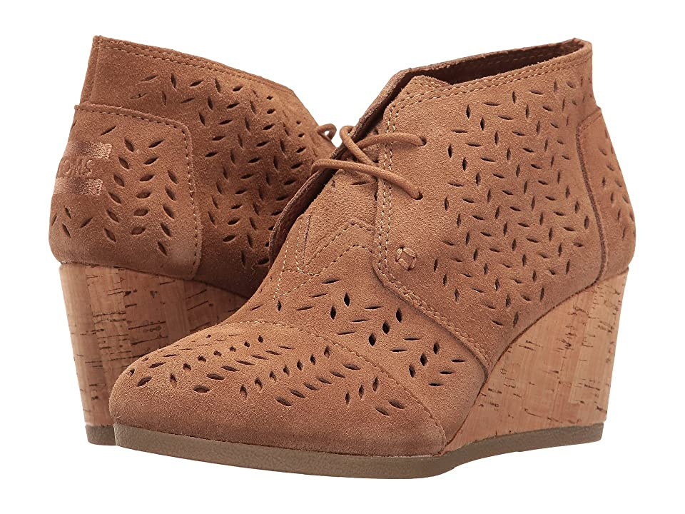 TOMS Desert Wedge Bootie (Toffee Suede Perforated Leaf) Women