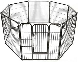TRESKO® Valla para perros, corralito, parque de cachorros, corral para mascotas, para el exterior, el jardín y el apartamento, valla de animales perros reja para mascotas, altura 80 cm