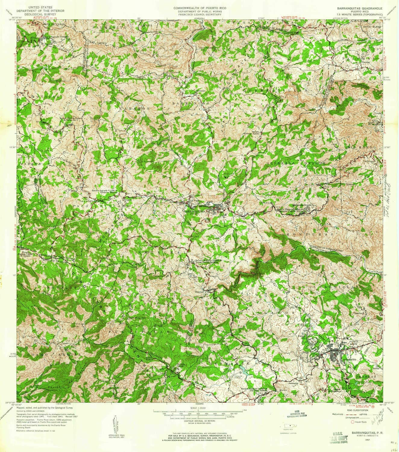 YellowMaps Barranquitas 70% OFF Outlet PR topo map 1:20000 Limited price X Scale 7.5 Mi