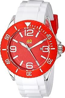 40Nine Unisex 40NINE02/RED2 Large 45mm Analog Display Japanese Quartz White Watch