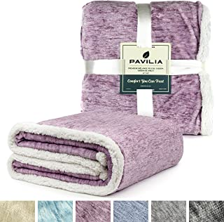PAVILIA Melange Sherpa Fleece Blanket Twin Size | Super Soft, Reversible, Microfiber Fleece Blanket Throw | Luxurious Plush Fuzzy Wine Purple TV Blanket for Bed Sofa(60x80 Inches, Wine)