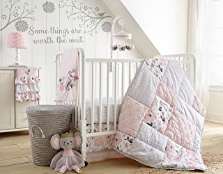 Levtex Baby Elise Grey and Pink Floral 5 Piece Crib Bedding Set, Quilt, 100% Cotton Crib Fitted Sheet, Dust Ruffle, Diaper Stacker and Large Wall Decals