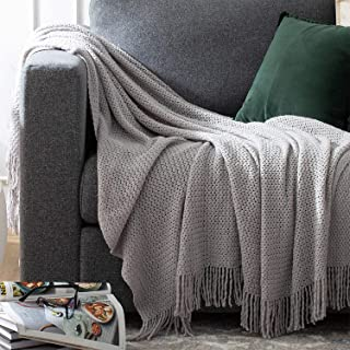 Bedsure Throw Blankets for Couch, Soft Knit Woven Blanket, 50x60 Inch - Lightweight Farmhouse Decorative Blanket with Tass...