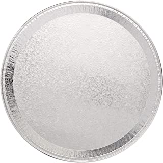 "Multi-Pack of 25 Disposable Aluminum 12"" Round Flat Serving Trays – Perfect Disposable Tray for Vegetable Platters, Slices of Cake, Cookies, Fruit platters and More – 9/16-inch Raised Sides"