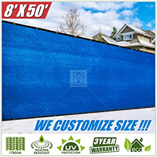 ColourTree 8' x 50' Blue Fence Privacy Screen Windscreen Cover Fabric Shade Tarp Plant Greenhouse Netting Mesh Cloth - Commercial Grade 170 GSM - Heavy Duty - 3 Years Warranty-CUSTOM SIZE AVAILABLE