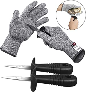 AmHoo Oyster shucking Knife Set Shucker Shucking Cut Resistant Glove Level 5 Protection..