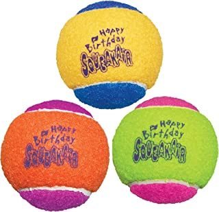 KONG - Squeakair® Birthday Balls - Dog Toy Premium Squeak Tennis Balls, Gentle on Teeth - For Medium Dogs (3 Pack)
