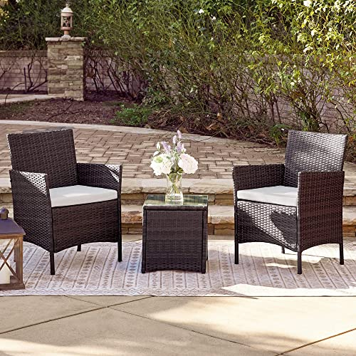 new arrival BELLEZE 3pc Outdoor online sale Patio Furniture Wicker Cushion Seat Coffee Backyard Yard High-Backrest Bistro Set Glass Top Table popular Chairs, Brown online sale