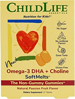 ChildLife Essentials Omega-3 DHA + Choline SoftMelts - for Infants, Babies, Kids, Toddlers, Children, and Teenagers - Natu...