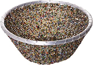 Red Co. Fabulous Mixed Beads Round Basket Bowl, Boho Chic Home Décor, 10 Inches