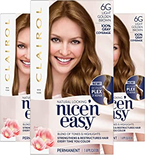 Clairol Nice'N Easy Crème 6G Light Golden Brown, Pack of 3