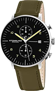 Stuhrling Original Men's 'Monaco' Quartz Chronograph Date Stainless Steel and Leather Dress Watch 803.02 Green, Green Band...