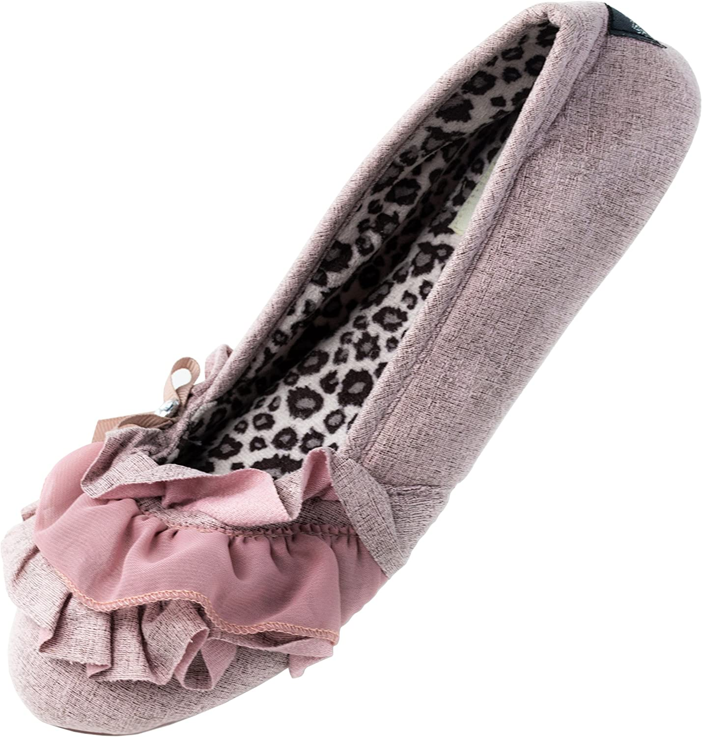 Red Co. Soft and Comfortable Ballerina Slippers Pink Leopard