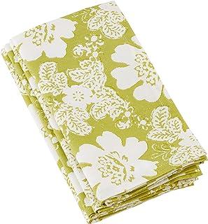 """SARO LIFESTYLE Komorebi Collection Cotton Block Floral Print Table Napkins (Set of 4), 20"""", Green"""
