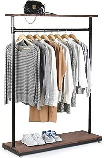 MyGift 60-Inch Rustic Industrial Wood & Pipe Design Freestanding Coat Rack, Retail Garment Display Stand