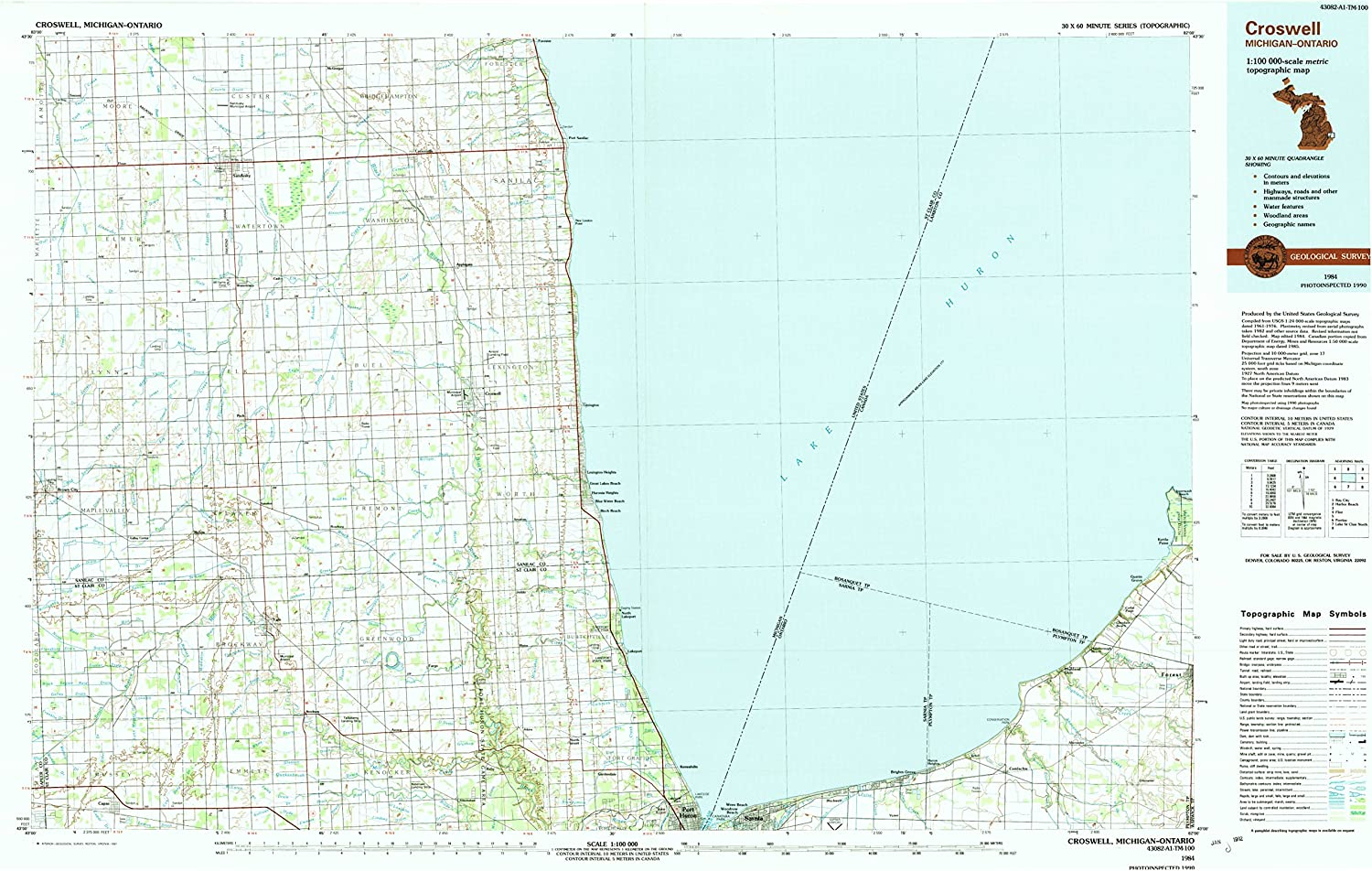 Croswell MI topo map, 1 100000 Scale, 30 X 60 Minute, Historical, 1984, Updated 1991, 24 x 38.1 in