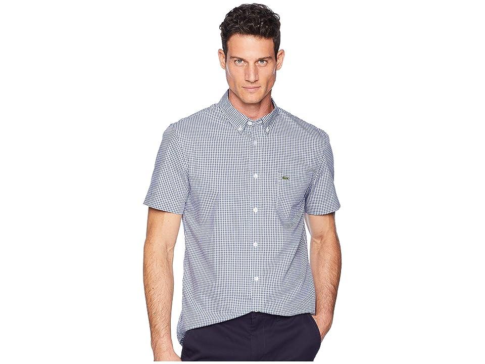 Lacoste Short Sleeve Regular Fit Gingham Poplin Button Down (Iodine/White) Men