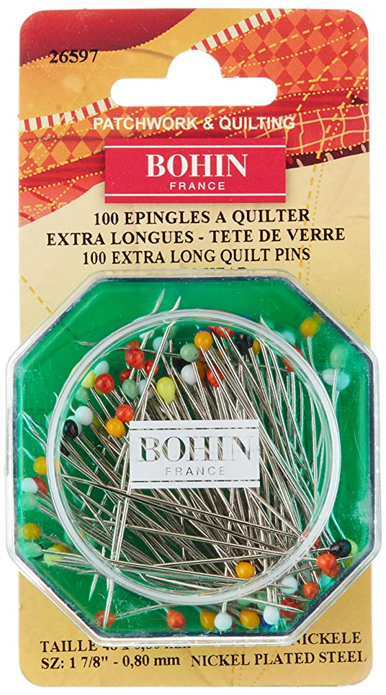 Bohin Quilting Glass Head Pin Size 30-1 7/8in 100ct