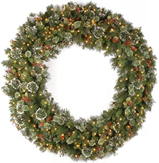 National Tree 60 Inch Wintry Pine Wreath with Cones, Red Berries, Snowflakes and 300 Clear Lights (WP1-300-60W)