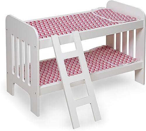 Badger Basket Puppe Etagenbett mit Leiter Chevron Print Spielzeug, WeißRosa