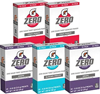 Gatorade G Zero Powder, Fruit Punch Variety Pack, 0.10oz Individual Packets (50 Pack)