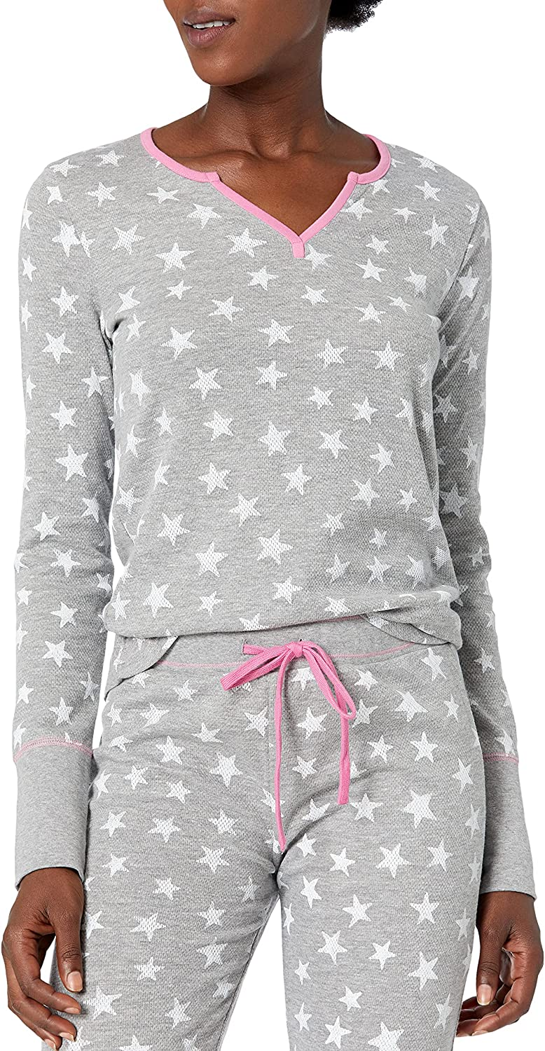 Mae Women's Vintage Thermal Henley Long Sleeve Top with Jogger Pajama Set