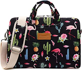 Canvaslife Flamingos Pattern 13 inch Waterproof Laptop Shoulder Messenger Case Bag 270 Degree Rebound Bubble Protection MacBook Pro Air 13 11 inch 12 inch 13.3 inch Laptop