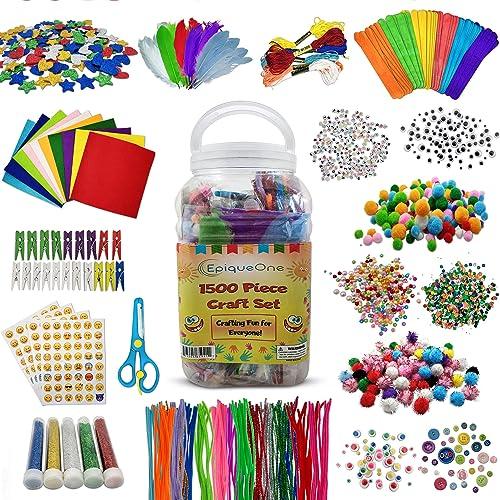 EpiqueOne 1500 Set of Bulk Craft Accessories for Kids - Art Supplies for Children, Toddlers, Classrooms, Large Assort...