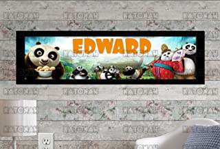 KATONAH Customized Name Painting Kung Fu Panda 3 Movie Poster With Your Name On It Personalized Banner With Border Mat