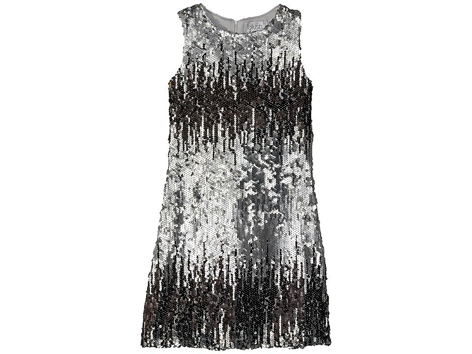 Us Angels Sleeveless Ombre Sequin Shift Dress (Big Kids) (Slate) Girl