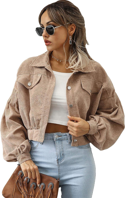 Qiaomai Womens Corduroy Sales Jacket Loose Cropp Up Under blast sales Puff Button Sleeve