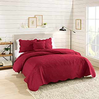 Nestl Bedding 4-Piece Quilted Damask Microfiber Full Coverlet Set with Pillow Shams, Burgundy Red