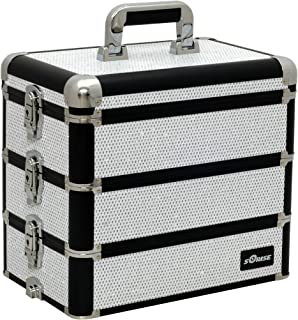 Sunrise Del Prefetto Heavy Duty Makeup Case Professional Nail Travel Organizer Box, White Krystal, 10 Pound
