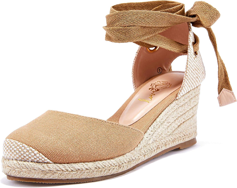 Ruanyu Max 70% OFF Womens Platform Espadrille Sandals Toe Lace Sum Up Closed Rapid rise
